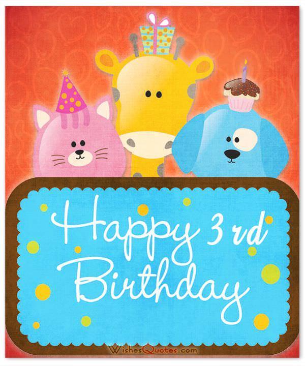 Animal Wishes Birthday 3rd Birthday Wishes