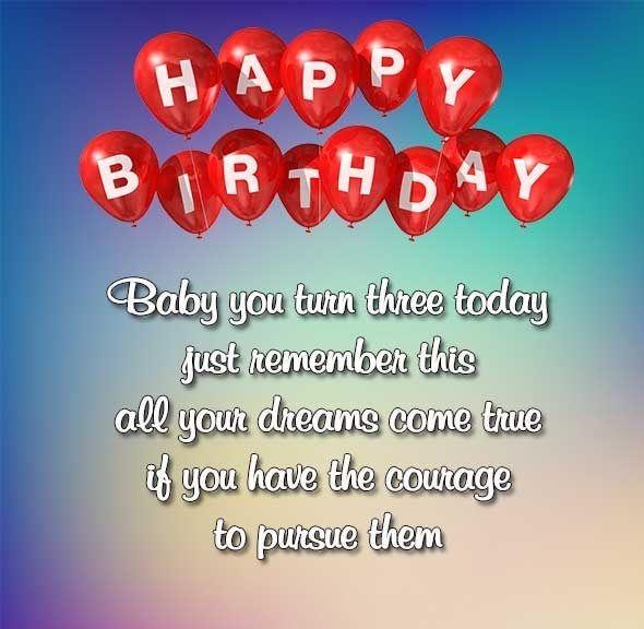 Baby You Turn Three 3rd Birthday Wishes