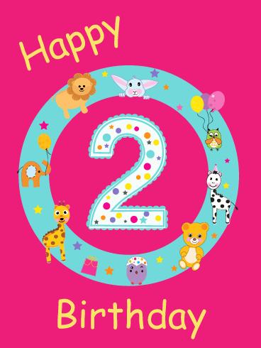 Birthday Celebrate With Animals 2nd Birthday Wishes