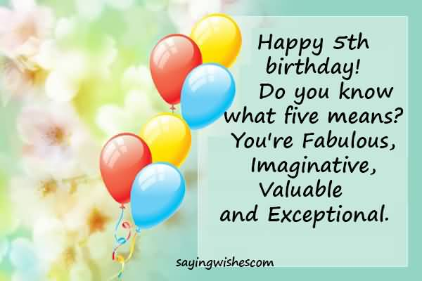 Happy 5th Birthday Do 5th Birthday Wishes