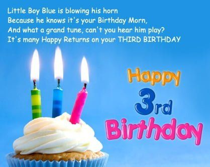 Little Boy Blue Is 3rd Birthday Wishes