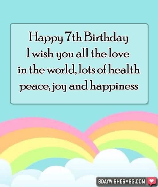 Amazing 7th Birthday Greeting For Children