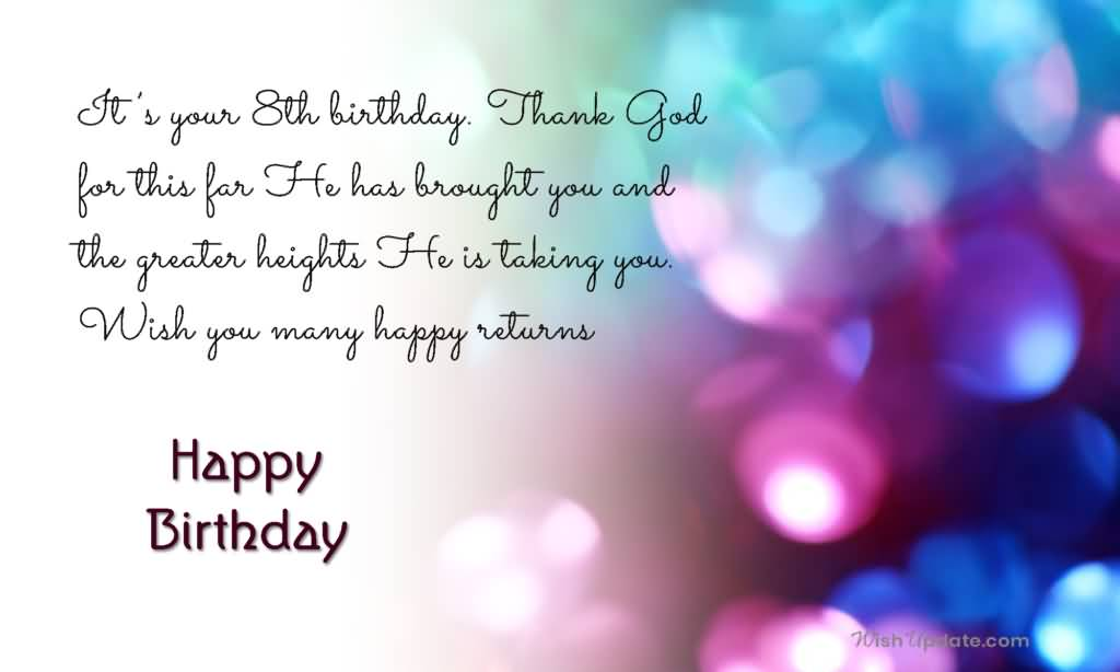 Amazing 8th Birthday Greeting For You