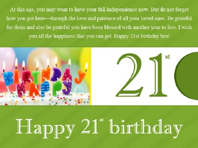 Attractive Happy 21st Birthday Message For You