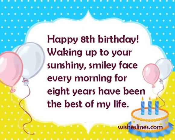 Beautiful 8th Birthday Wishes Greeting For Children