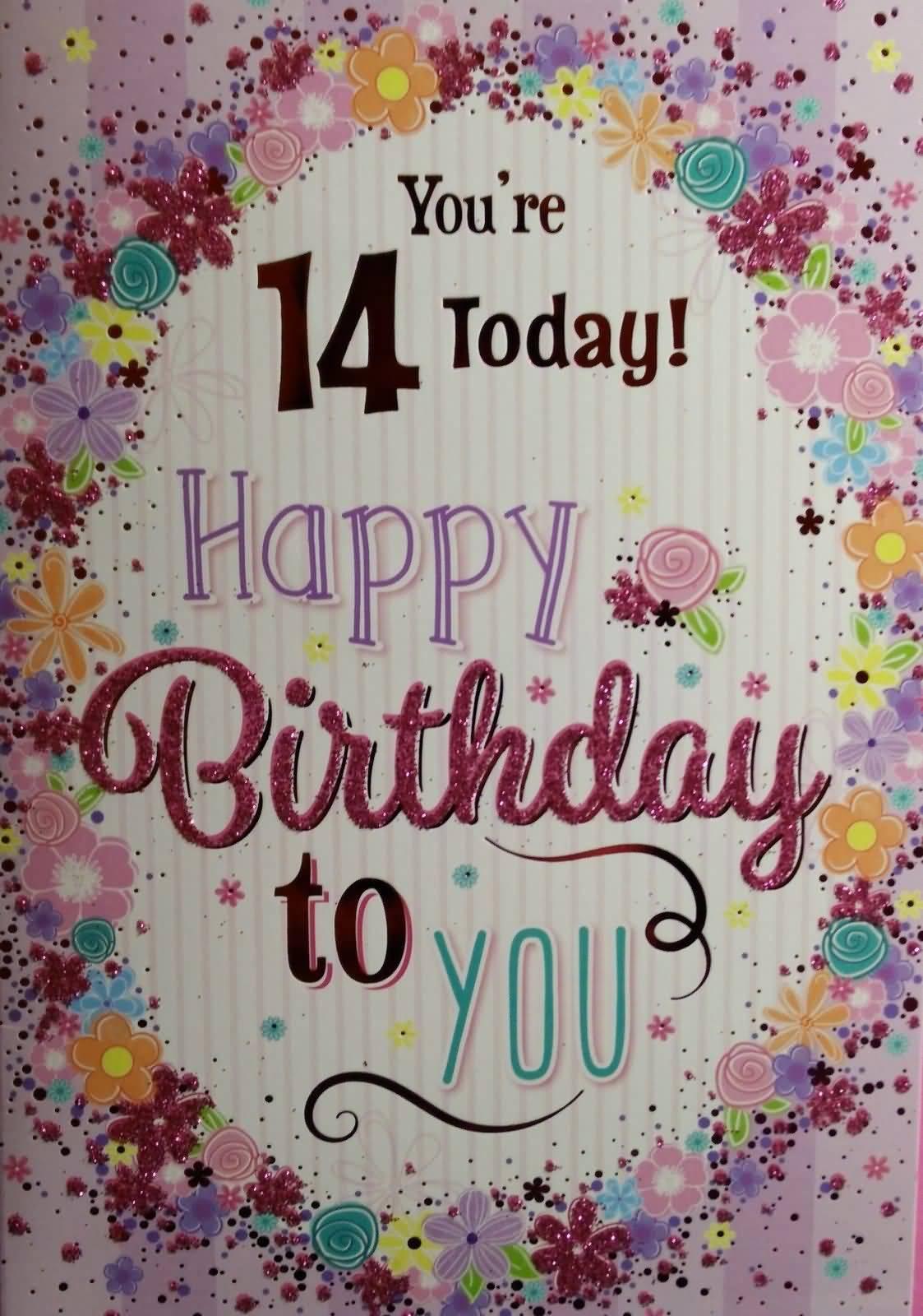 Beautiful Happy 14th Birthday Card For Children