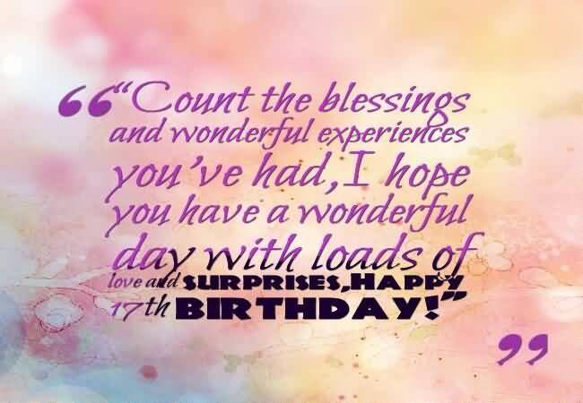 Beautiful Happy 17th Birthday Card For Children