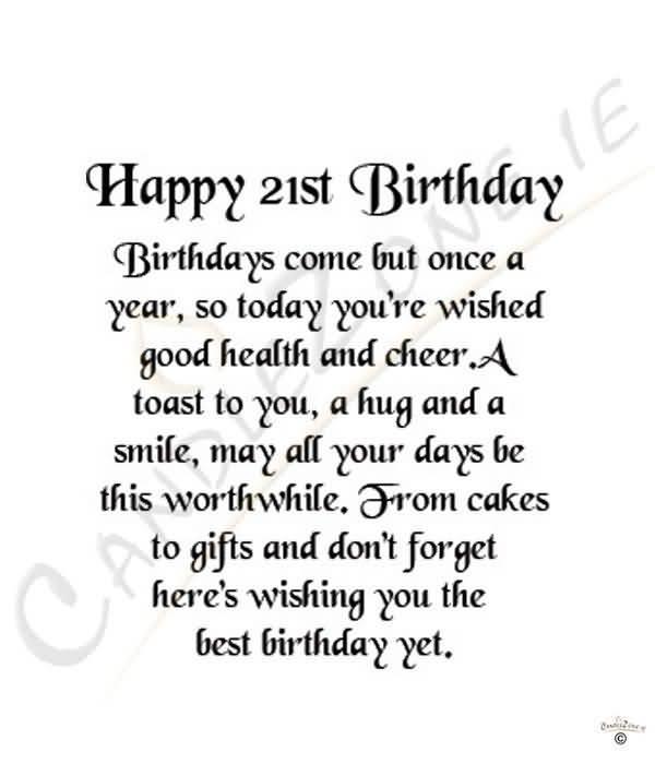 Beautiful Happy 21st Birthday Wish For Sharing