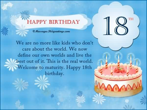 Best Happy 18th Birthday Wish For You