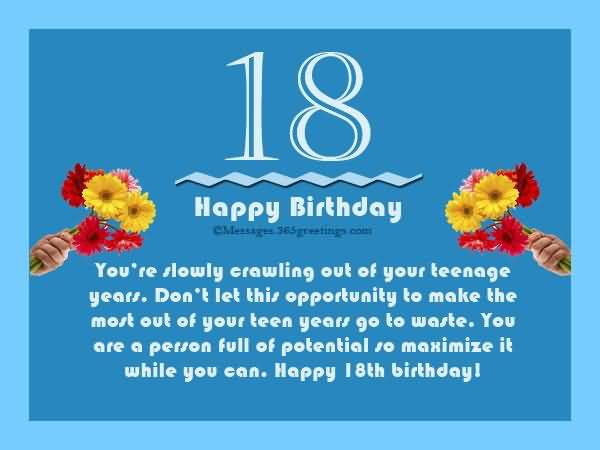 Cool Happy 18th Birthday Message For Kid