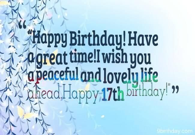 Eye Catching Happy 17th Birthday Wish For Kid