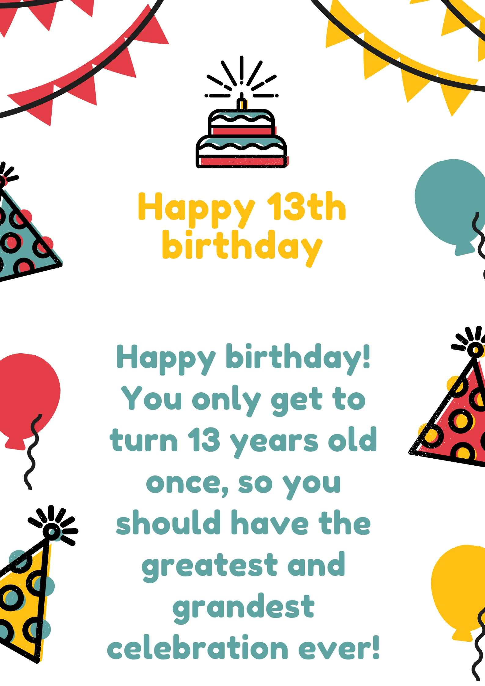 Mind Blowing Happy 13th Birthday Greeting For Sharing