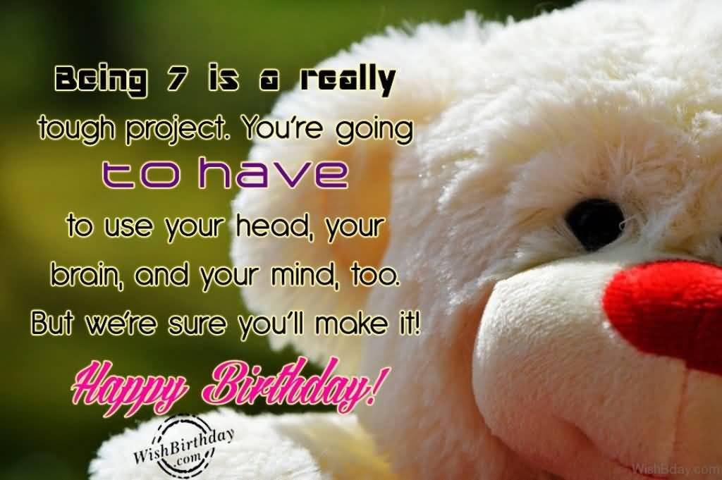 Wonderful 7th Birthday Card For Kid