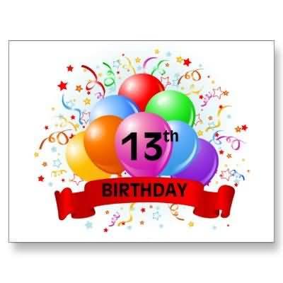 Wonderful Happy 13th Birthday Card For Kid
