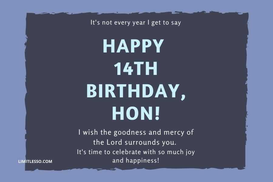 Wonderful Happy 14th Birthday Card For Sharing