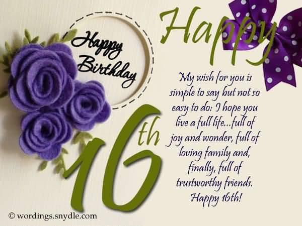 Wonderful Happy 16th Birthday Wish For Kid