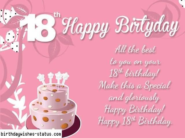 Wonderful Happy 18th Birthday Greeting For Kid